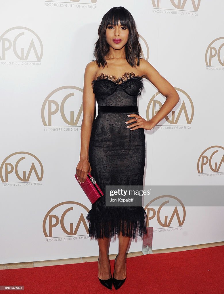 Actress <a gi-track='captionPersonalityLinkClicked' href=/galleries/search?phrase=Kerry+Washington&family=editorial&specificpeople=201534 ng-click='$event.stopPropagation()'>Kerry Washington</a> arrives at the 24th Annual Producers Guild Awards at The Beverly Hilton Hotel on January 26, 2013 in Beverly Hills, California.