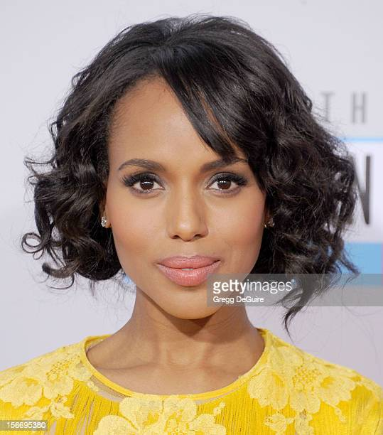 Actress Kerry Washington arrives at the 40th Anniversary American Music Awards at Nokia Theatre LA Live on November 18 2012 in Los Angeles California