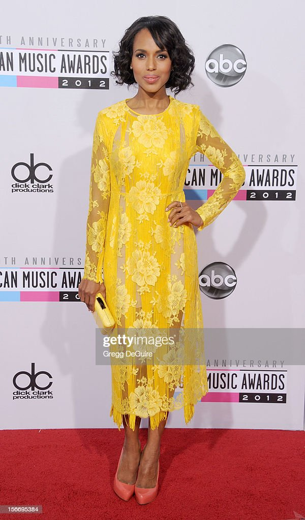 Actress Kerry Washington arrives at the 40th Anniversary American Music Awards at Nokia Theatre L.A. Live on November 18, 2012 in Los Angeles, California.