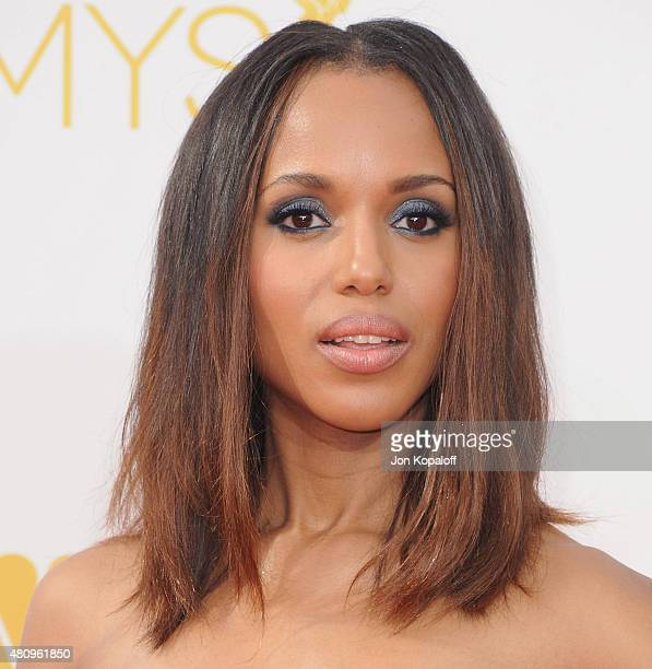 Actress Kerry Washington arrives at the 66th Annual Primetime Emmy Awards at Nokia Theatre LA Live on August 25 2014 in Los Angeles California