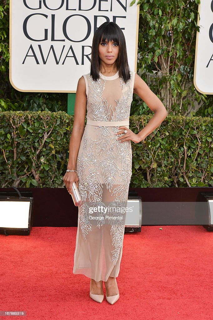 Actress Kerry Washington arrives at the 70th Annual Golden Globe Awards held at The Beverly Hilton Hotel on January 13 2013 in Beverly Hills...