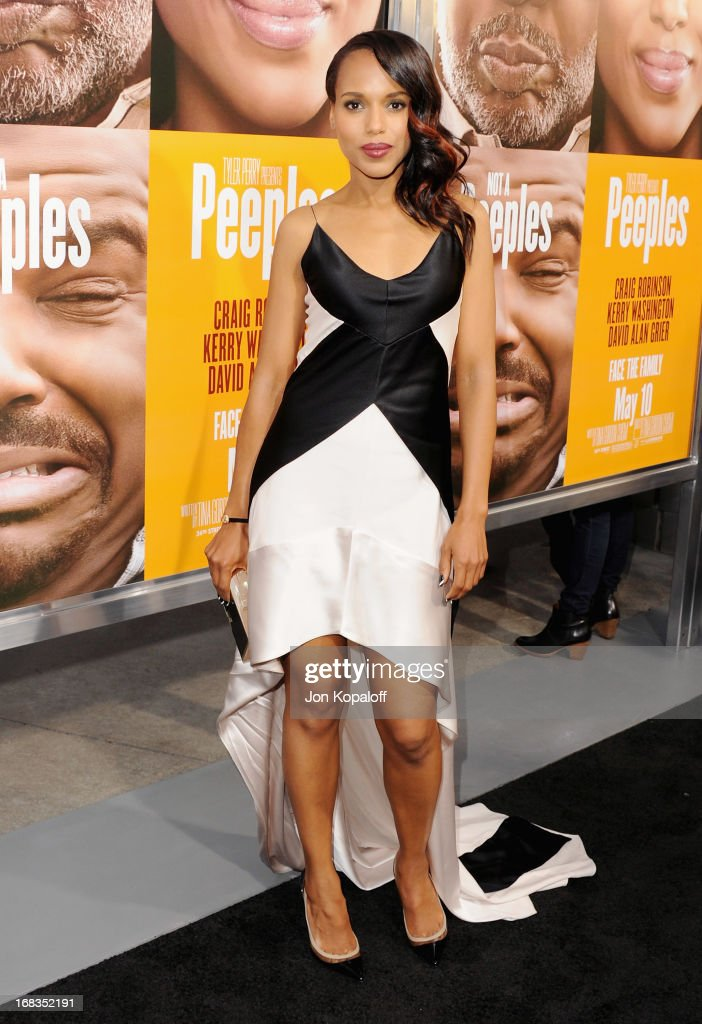 Actress <a gi-track='captionPersonalityLinkClicked' href=/galleries/search?phrase=Kerry+Washington&family=editorial&specificpeople=201534 ng-click='$event.stopPropagation()'>Kerry Washington</a> arrives at the Los Angeles Premiere 'Peeples' at ArcLight Hollywood on May 8, 2013 in Hollywood, California.