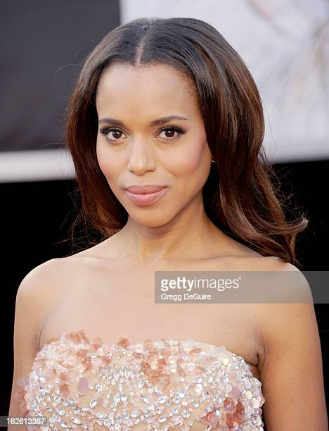 Actress Kerry Washington arrives at the Oscars at Hollywood Highland Center on February 24 2013 in Hollywood California