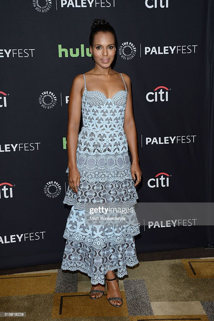 Actress <a gi-track='captionPersonalityLinkClicked' href=/galleries/search?phrase=Kerry+Washington&family=editorial&specificpeople=201534 ng-click='$event.stopPropagation()'>Kerry Washington</a> arrives at The Paley Center For Media's 33rd Annual PALEYFEST Los Angeles ÒScandalÓ at Dolby Theatre on March 15, 2016 in Hollywood, California.