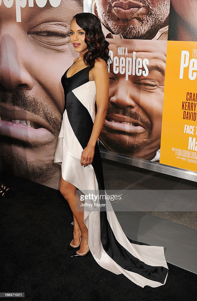 Actress <a gi-track='captionPersonalityLinkClicked' href=/galleries/search?phrase=Kerry+Washington&family=editorial&specificpeople=201534 ng-click='$event.stopPropagation()'>Kerry Washington</a> arrives at the premiere of 'Peeples' presented by Lionsgate Film and Tyler Perry at ArcLight Hollywood on May 8, 2013 in Hollywood, California.