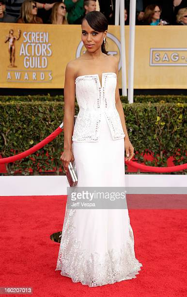 Actress Kerry Washington arrives at the19th Annual Screen Actors Guild Awards held at The Shrine Auditorium on January 27 2013 in Los Angeles...