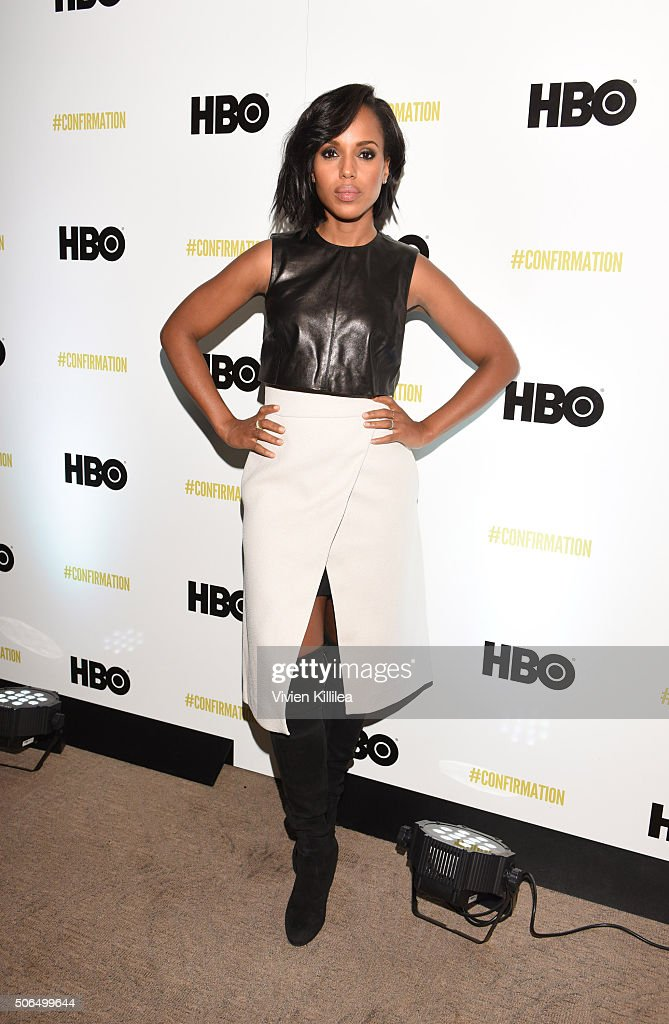 Actress <a gi-track='captionPersonalityLinkClicked' href=/galleries/search?phrase=Kerry+Washington&family=editorial&specificpeople=201534 ng-click='$event.stopPropagation()'>Kerry Washington</a> attends HBO's 'Confirmation' at Sundance on January 23, 2016 in Park City, Utah.