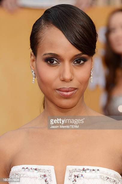 Actress Kerry Washington attends the 19th Annual Screen Actors Guild Awards at The Shrine Auditorium on January 27 2013 in Los Angeles California...