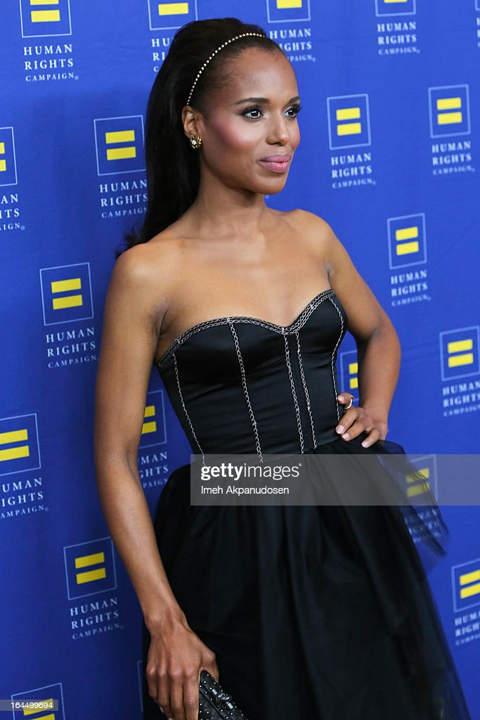 Actress Kerry Washington attends the 2013 Human Rights Campaign Los Angeles Gala at JW Marriott Los Angeles at L.A. LIVE on March 23, 2013 in Los Angeles, California.