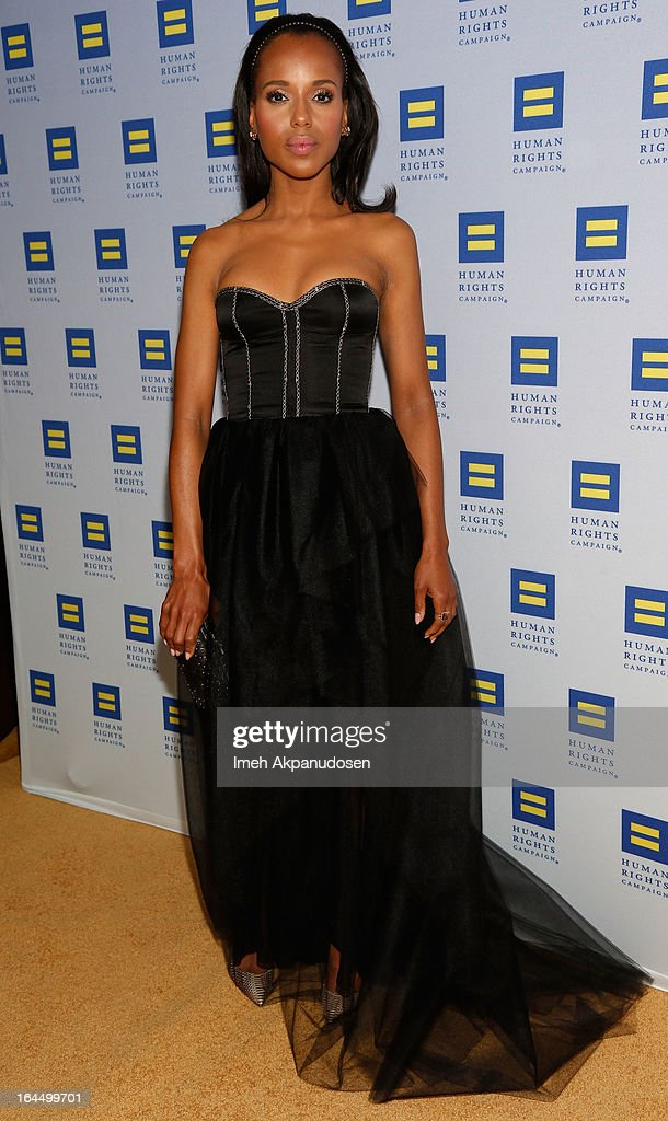Actress <a gi-track='captionPersonalityLinkClicked' href=/galleries/search?phrase=Kerry+Washington&family=editorial&specificpeople=201534 ng-click='$event.stopPropagation()'>Kerry Washington</a> attends the 2013 Human Rights Campaign Los Angeles Gala at JW Marriott Los Angeles at L.A. LIVE on March 23, 2013 in Los Angeles, California.