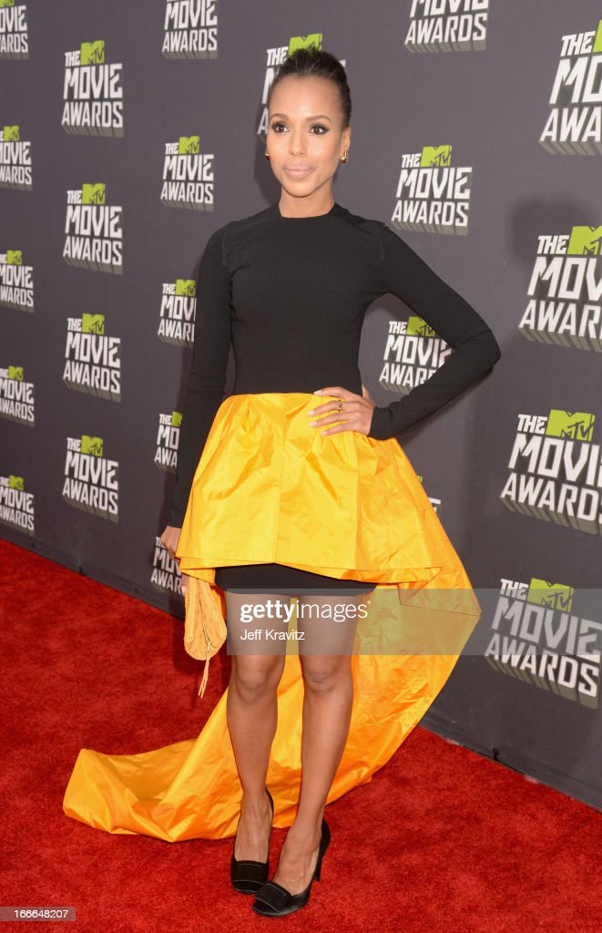 Actress <a gi-track='captionPersonalityLinkClicked' href=/galleries/search?phrase=Kerry+Washington&family=editorial&specificpeople=201534 ng-click='$event.stopPropagation()'>Kerry Washington</a> attends the 2013 MTV Movie Awards at Sony Pictures Studios on April 14, 2013 in Culver City, California.
