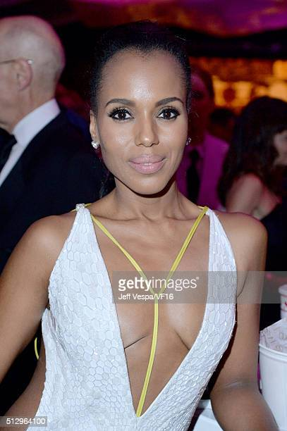 Actress Kerry Washington attends the 2016 Vanity Fair Oscar Party Hosted By Graydon Carter at the Wallis Annenberg Center for the Performing Arts on...