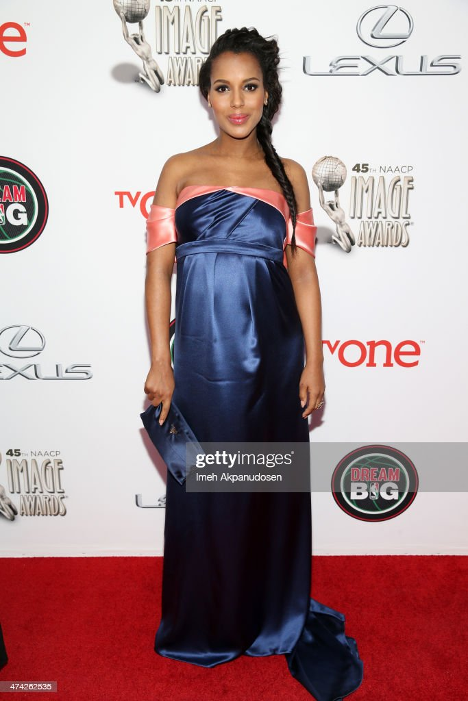 Actress <a gi-track='captionPersonalityLinkClicked' href=/galleries/search?phrase=Kerry+Washington&family=editorial&specificpeople=201534 ng-click='$event.stopPropagation()'>Kerry Washington</a> attends the 45th NAACP Image Awards presented by TV One at Pasadena Civic Auditorium on February 22, 2014 in Pasadena, California.