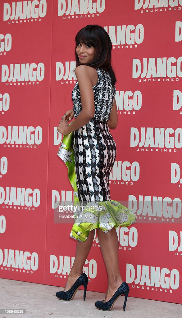 Actress <a gi-track='captionPersonalityLinkClicked' href=/galleries/search?phrase=Kerry+Washington&family=editorial&specificpeople=201534 ng-click='$event.stopPropagation()'>Kerry Washington</a> attends the 'Django Unchained' photocall at the Hassler Hotel on January 4, 2013 in Rome, Italy.