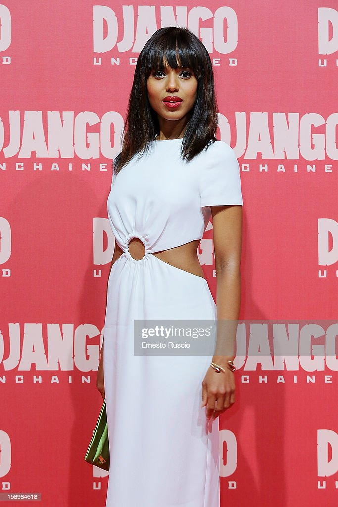 Actress <a gi-track='captionPersonalityLinkClicked' href=/galleries/search?phrase=Kerry+Washington&family=editorial&specificpeople=201534 ng-click='$event.stopPropagation()'>Kerry Washington</a> attends the 'Django Unchained' premiere at Cinema Adriano on January 4, 2013 in Rome, Italy.