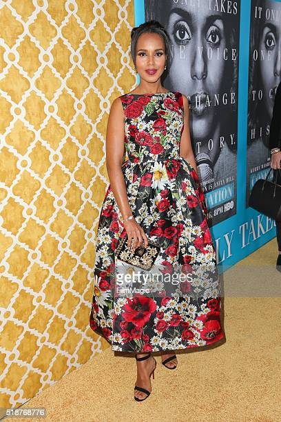 Actress Kerry Washington attends the Los Angeles premiere of HBO Films' 'Confirmation' at Paramount Theater on the Paramount Studios lot on March 31...