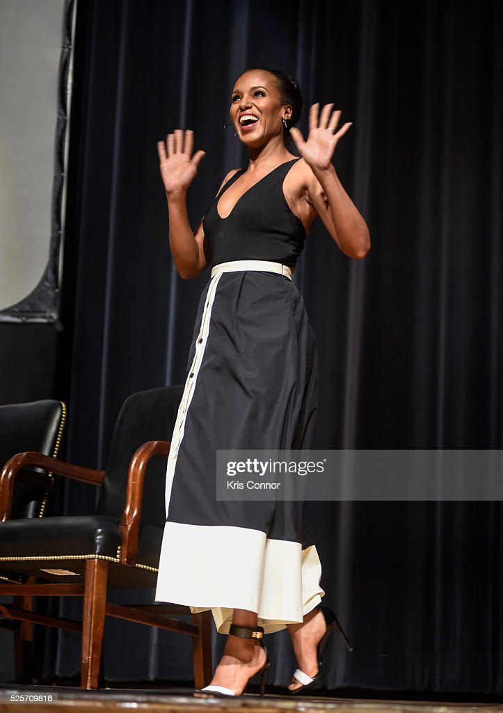Actress <a gi-track='captionPersonalityLinkClicked' href=/galleries/search?phrase=Kerry+Washington&family=editorial&specificpeople=201534 ng-click='$event.stopPropagation()'>Kerry Washington</a> attends the 'Scandal-ous!' event hosted by the Smithsonian Associates with Shonda Rhimes and the cast of ABC's Scandals at the University of District of Columbia Theater of the Arts on April 28, 2016 in Washington, DC.