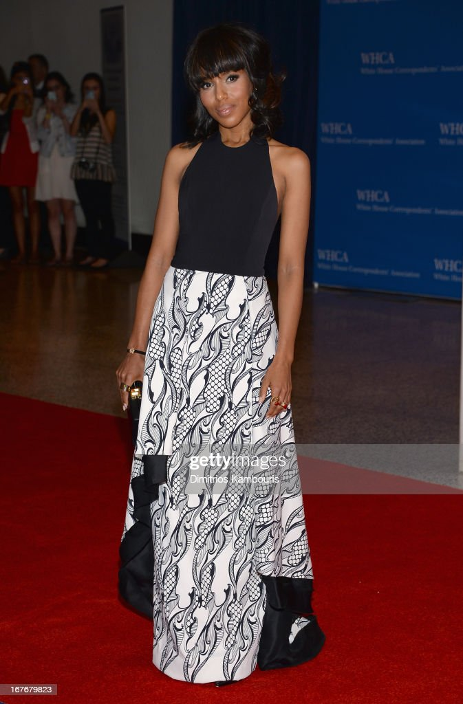 Actress <a gi-track='captionPersonalityLinkClicked' href=/galleries/search?phrase=Kerry+Washington&family=editorial&specificpeople=201534 ng-click='$event.stopPropagation()'>Kerry Washington</a> attends the White House Correspondents' Association Dinner at the Washington Hilton on April 27, 2013 in Washington, DC.