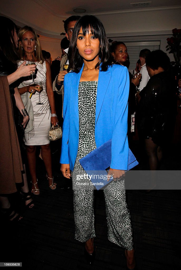 """Actress <a gi-track='captionPersonalityLinkClicked' href=/galleries/search?phrase=Kerry+Washington&family=editorial&specificpeople=201534 ng-click='$event.stopPropagation()'>Kerry Washington</a> attends W Magazine's 'Best Performances Issue"""" and the Golden Globe Awards celebration with W Magazine, Cadillac and Dom Pérignon at Chateau Marmont on January 11, 2013 in Los Angeles, California."""