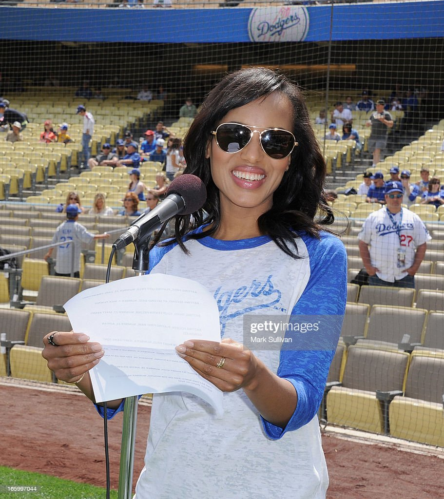 Actress <a gi-track='captionPersonalityLinkClicked' href=/galleries/search?phrase=Kerry+Washington&family=editorial&specificpeople=201534 ng-click='$event.stopPropagation()'>Kerry Washington</a> during a sound check before announcing the Los Angeles Dodger starting line-up at Dodger Stadium on April 7, 2013 in Los Angeles, California.