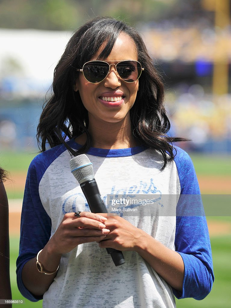 Actress Kerry Washington during on field interview before announcing the Los Angeles Dodger starting line-up at Dodger Stadium on April 7, 2013 in Los Angeles, California.