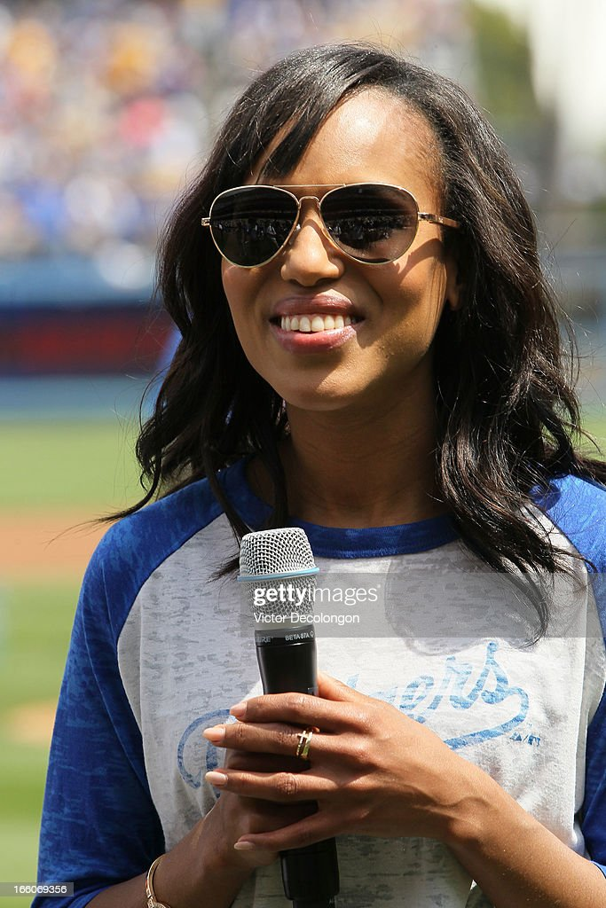 Actress Kerry Washington from the television show 'Scandal' attends the MLB game between the Pittsburgh Pirates and the Los Angeles Dodgers at Dodger Stadium on April 7, 2013 in Los Angeles, California. The Dodgers defeated the Pirates 6-2.