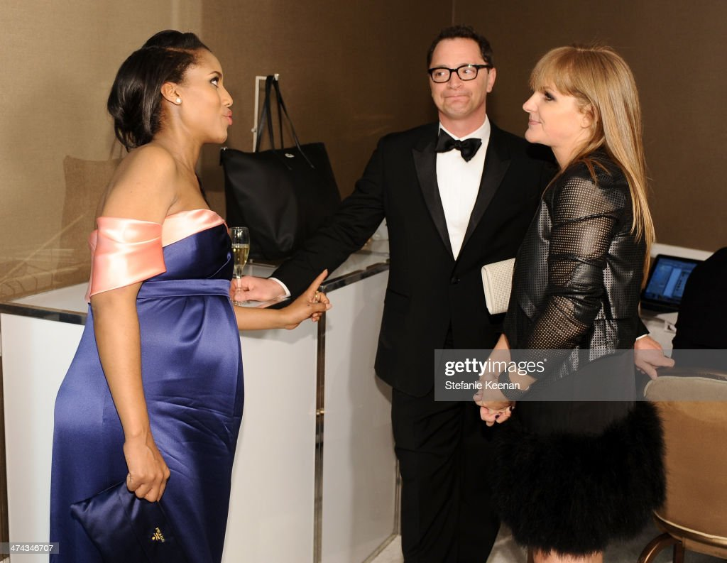 Actress Kerry Washington, host Joshua Malina and executive producer of The Costume Designers Guild Awards JL Pomeroy attend the 16th Costume Designers Guild Awards with presenting sponsor Lacoste at The Beverly Hilton Hotel on February 22, 2014 in Beverly Hills, California.