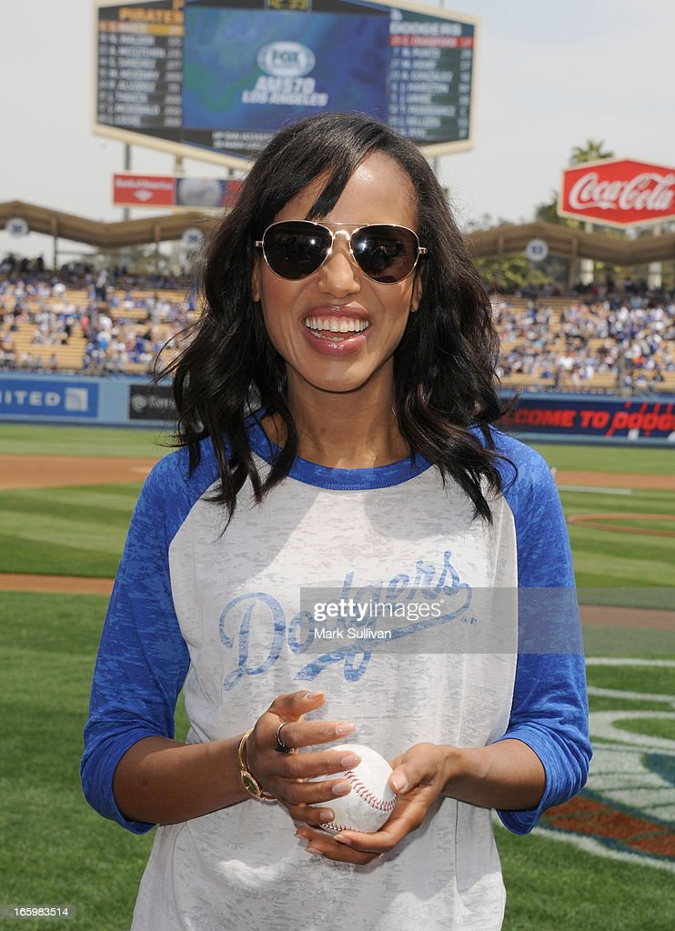Actress <a gi-track='captionPersonalityLinkClicked' href=/galleries/search?phrase=Kerry+Washington&family=editorial&specificpeople=201534 ng-click='$event.stopPropagation()'>Kerry Washington</a> on field before announcing the Los Angeles Dodger starting line-up at Dodger Stadium on April 7, 2013 in Los Angeles, California.