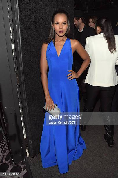 Actress Kerry Washington poses backstage at the 2016 ABFF Awards A Celebration Of Hollywood at The Beverly Hilton Hotel on February 21 2016 in...