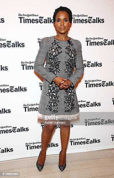 Actress Kerry Washington poses during TimesTalks Presents Kerry Washington And Anita Hill 'Confirmation' at The Times Center on April 8 2016 in New...