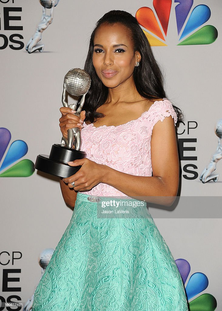 Actress <a gi-track='captionPersonalityLinkClicked' href=/galleries/search?phrase=Kerry+Washington&family=editorial&specificpeople=201534 ng-click='$event.stopPropagation()'>Kerry Washington</a> poses in the press room at the 44th NAACP Image Awards at The Shrine Auditorium on February 1, 2013 in Los Angeles, California.