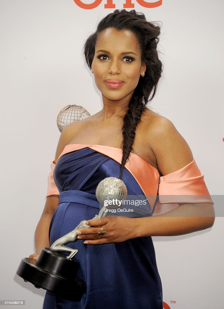 Actress <a gi-track='captionPersonalityLinkClicked' href=/galleries/search?phrase=Kerry+Washington&family=editorial&specificpeople=201534 ng-click='$event.stopPropagation()'>Kerry Washington</a> poses in the press room at the 45th NAACP Image Awards at Pasadena Civic Auditorium on February 22, 2014 in Pasadena, California.