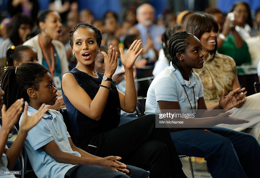 Actress <a gi-track='captionPersonalityLinkClicked' href=/galleries/search?phrase=Kerry+Washington&family=editorial&specificpeople=201534 ng-click='$event.stopPropagation()'>Kerry Washington</a> sits with students during an event with U.S. first lady <a gi-track='captionPersonalityLinkClicked' href=/galleries/search?phrase=Michelle+Obama&family=editorial&specificpeople=2528864 ng-click='$event.stopPropagation()'>Michelle Obama</a> (R) while visiting the Savoy School May 24, 2013 in Washington, DC. The Savoy School, once one of the lowest performing schools in the District of Columbia, has shown significant signs of improvement since being designated as one of eight schools selected last year for the Turnaround Arts Initiative by the PresidentÕs Committee on the Arts and the Humanities.