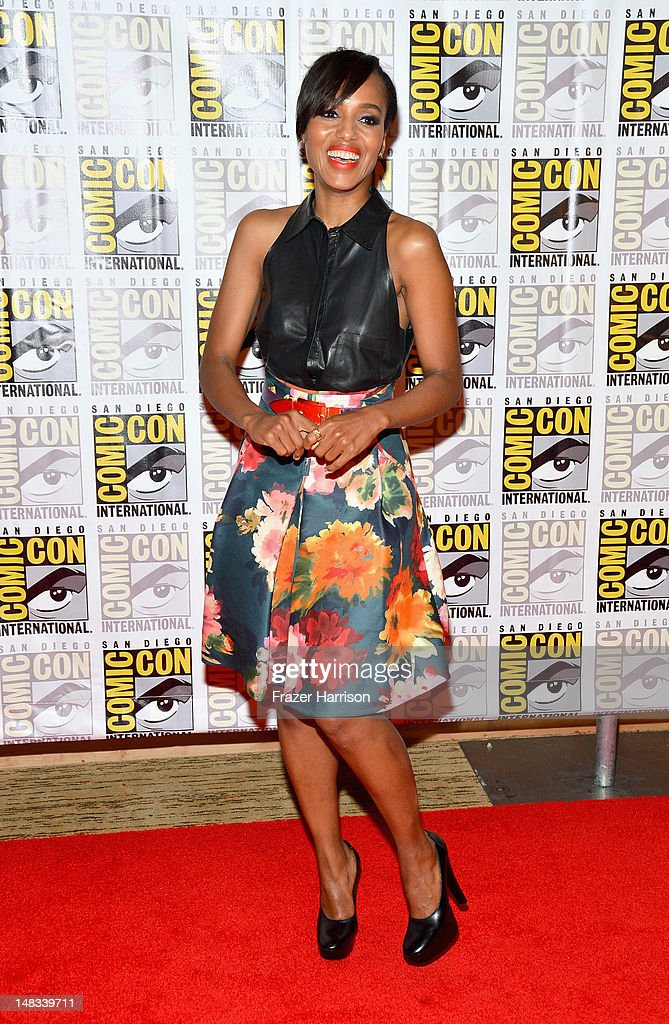 Actress <a gi-track='captionPersonalityLinkClicked' href=/galleries/search?phrase=Kerry+Washington&family=editorial&specificpeople=201534 ng-click='$event.stopPropagation()'>Kerry Washington</a> speaks at 'DJango Unchained' Press Line during Comic-Con International 2012 at Hilton San Diego Bayfront Hotel on July 14, 2012 in San Diego, California.