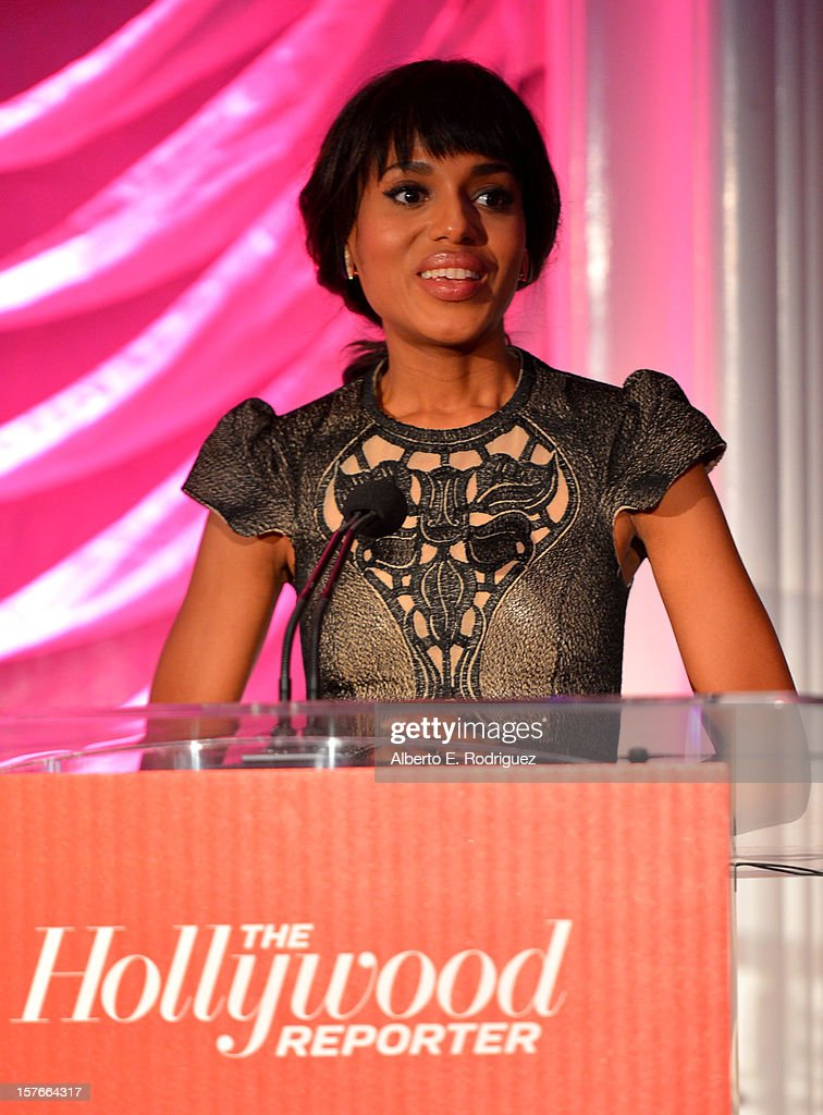 Actress <a gi-track='captionPersonalityLinkClicked' href=/galleries/search?phrase=Kerry+Washington&family=editorial&specificpeople=201534 ng-click='$event.stopPropagation()'>Kerry Washington</a> speaks at The Hollywood Reporter's 'Power 100: Women In Entertainment' Breakfast at the Beverly Hills Hotel on December 5, 2012 in Beverly Hills, California.