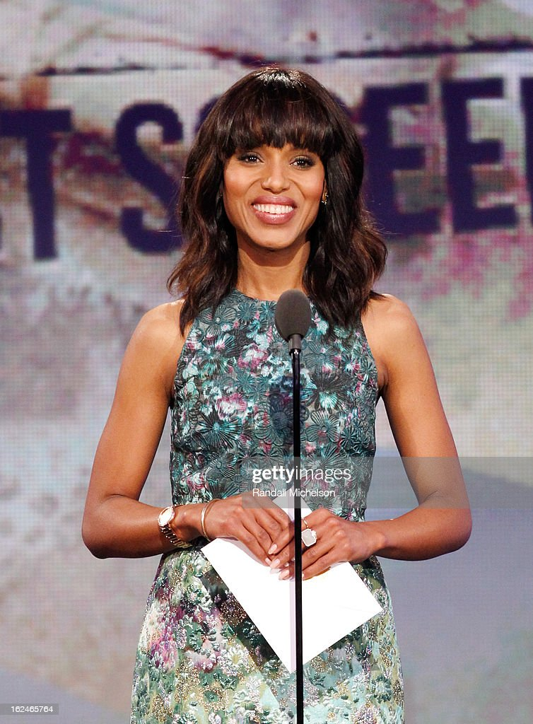 Actress <a gi-track='captionPersonalityLinkClicked' href=/galleries/search?phrase=Kerry+Washington&family=editorial&specificpeople=201534 ng-click='$event.stopPropagation()'>Kerry Washington</a> speaks onstage during the 2013 Film Independent Spirit Awards at Santa Monica Beach on February 23, 2013 in Santa Monica, California.