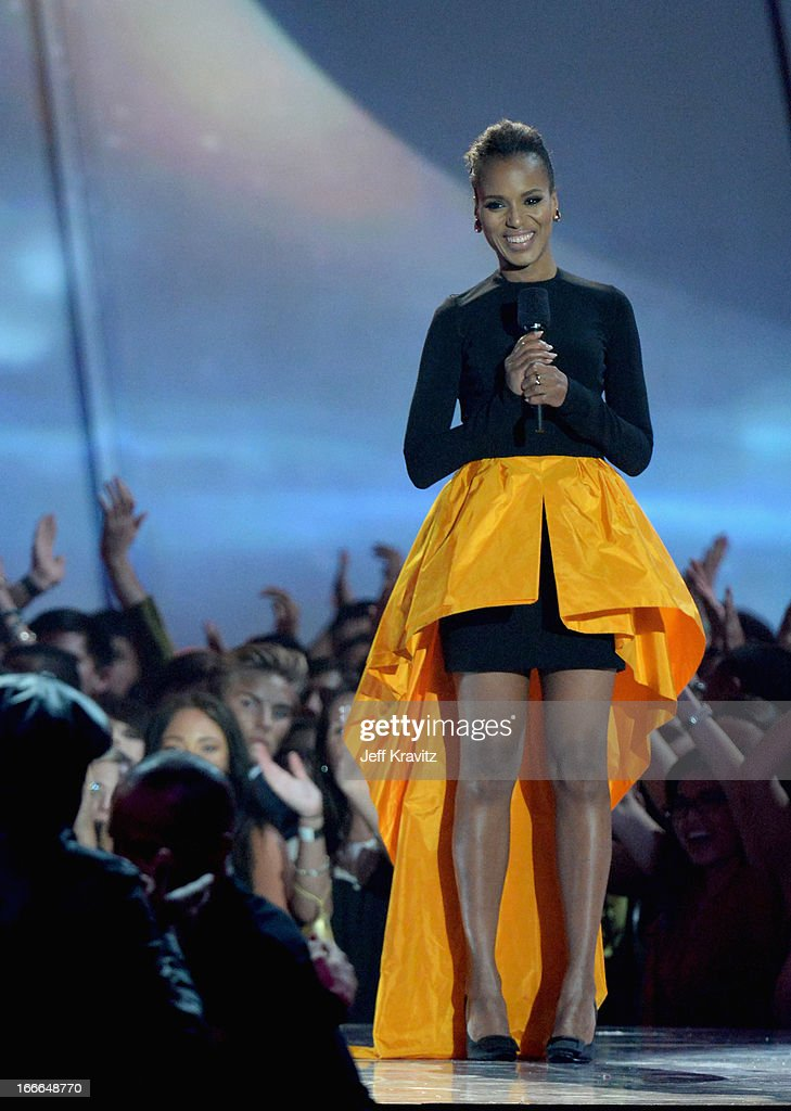Actress <a gi-track='captionPersonalityLinkClicked' href=/galleries/search?phrase=Kerry+Washington&family=editorial&specificpeople=201534 ng-click='$event.stopPropagation()'>Kerry Washington</a> speaks onstage during the 2013 MTV Movie Awards at Sony Pictures Studios on April 14, 2013 in Culver City, California.