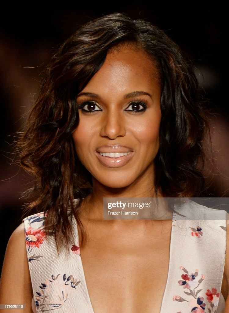 Actress <a gi-track='captionPersonalityLinkClicked' href=/galleries/search?phrase=Kerry+Washington&family=editorial&specificpeople=201534 ng-click='$event.stopPropagation()'>Kerry Washington</a> walks the runway at the Project Runway Spring 2014 fashion show during Mercedes-Benz Fashion Week at The Theatre at Lincoln Center on September 6, 2013 in New York City.