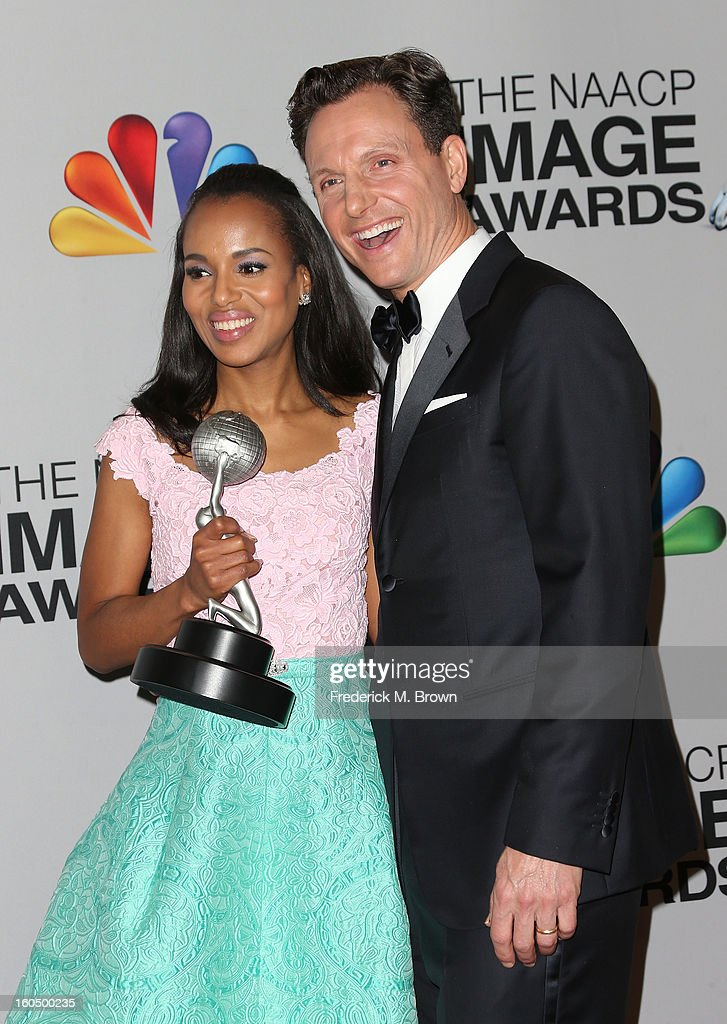 Actress <a gi-track='captionPersonalityLinkClicked' href=/galleries/search?phrase=Kerry+Washington&family=editorial&specificpeople=201534 ng-click='$event.stopPropagation()'>Kerry Washington</a>, winner of Outstanding Actress in a Drama Series for 'Scandal,' (L) and actor <a gi-track='captionPersonalityLinkClicked' href=/galleries/search?phrase=Tony+Goldwyn&family=editorial&specificpeople=234897 ng-click='$event.stopPropagation()'>Tony Goldwyn</a> pose in the press room during the 44th NAACP Image Awards at The Shrine Auditorium on February 1, 2013 in Los Angeles, California.