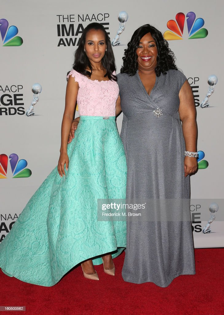 Actress <a gi-track='captionPersonalityLinkClicked' href=/galleries/search?phrase=Kerry+Washington&family=editorial&specificpeople=201534 ng-click='$event.stopPropagation()'>Kerry Washington</a>, winner of Outstanding Actress in a Drama Series for 'Scandal,' (L) and producer Shonda Rimes pose in the press room during the 44th NAACP Image Awards at The Shrine Auditorium on February 1, 2013 in Los Angeles, California.