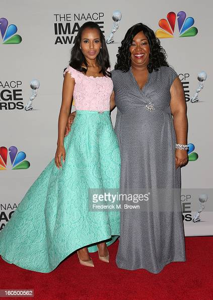 Actress Kerry Washington winner of Outstanding Actress in a Drama Series for 'Scandal' and producer Shonda Rimes pose in the press room during the...