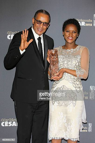 Actress Kesssen Tall and director Abderrahmane Sissako pose in the Award room after they received the award for Best Film 'Timbuktu at the 40th Cesar...