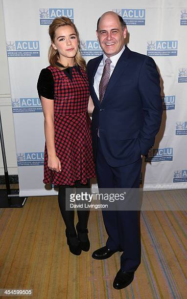 Actress Kiernan Shipka and 'Mad Men' creator and evening honoree Matthew Weiner attend the ACLU of Southern California's 90th Anniversary Bill of...