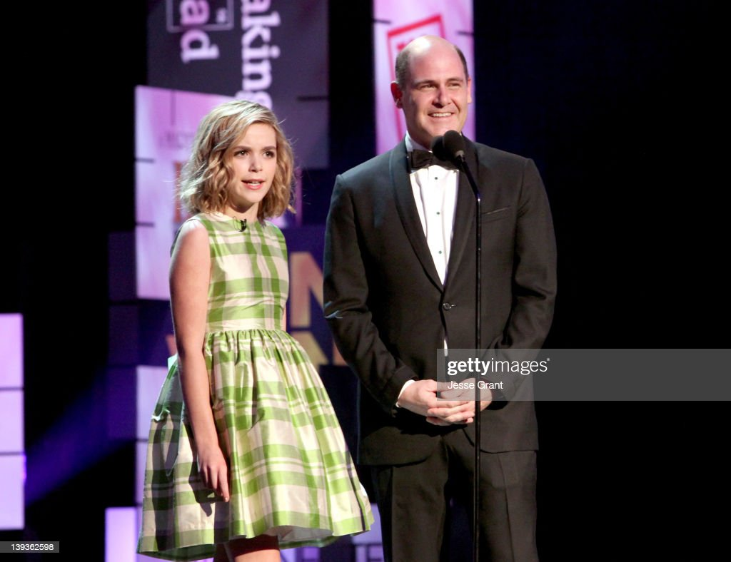 Actress Kiernan Shipka (L) and writer/creator Matthew Weiner attend the 2012 Writers Guild Awards at the Hollywood Palladium on February 19, 2012 in Los Angeles, California.