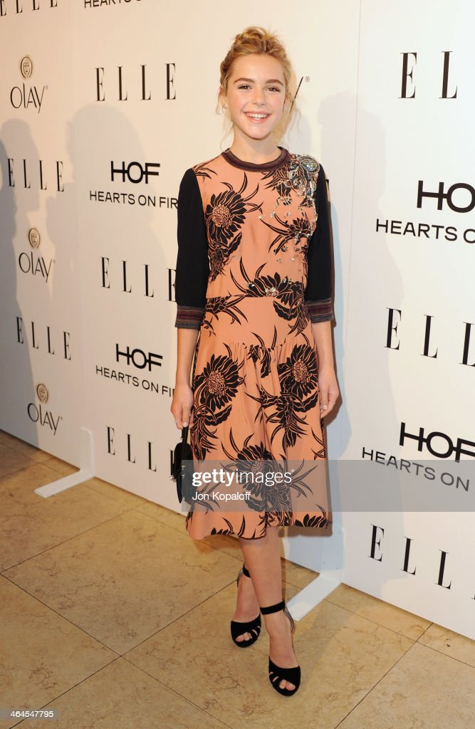 Actress <a gi-track='captionPersonalityLinkClicked' href=/galleries/search?phrase=Kiernan+Shipka&family=editorial&specificpeople=5535048 ng-click='$event.stopPropagation()'>Kiernan Shipka</a> arrives at the ELLE Women In Television Celebration at Sunset Tower on January 22, 2014 in West Hollywood, California.