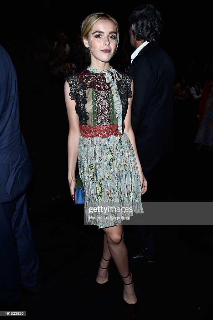 Actress Kiernan Shipka attends the Valentino show as part of the Paris Fashion Week Womenswear Spring/Summer 2016 on October 6 2015 in Paris France
