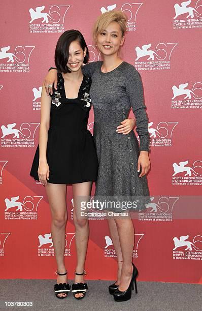 Actress Kiko Mizuhara and actress Rinko Kikuchi attend the 'Norwegian Wood' photocall at the Palazzo del Casino during the 67th International Venice...