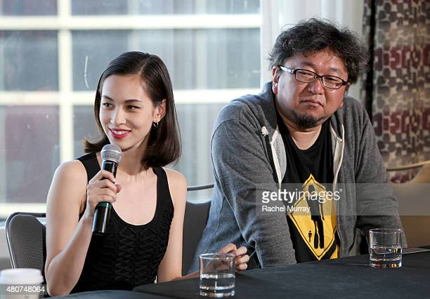 Actress Kiko Mizuhara and director Shinji Higuchi attend the 'ATTACK ON TITAN' World Premiere press conference on July 14 2015 in Hollywood California