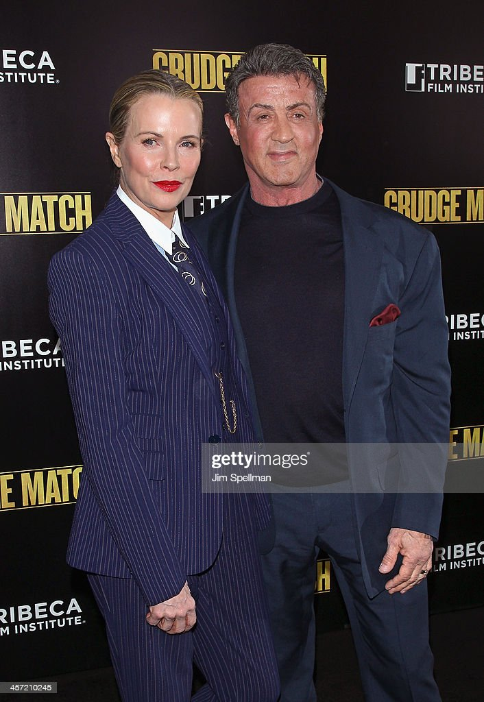 Actress <a gi-track='captionPersonalityLinkClicked' href=/galleries/search?phrase=Kim+Basinger&family=editorial&specificpeople=202204 ng-click='$event.stopPropagation()'>Kim Basinger</a> and actor/director <a gi-track='captionPersonalityLinkClicked' href=/galleries/search?phrase=Sylvester+Stallone&family=editorial&specificpeople=202604 ng-click='$event.stopPropagation()'>Sylvester Stallone</a> attend the 'Grudge Match' screening benifiting the Tribeca Film Insititute at Ziegfeld Theater on December 16, 2013 in New York City.