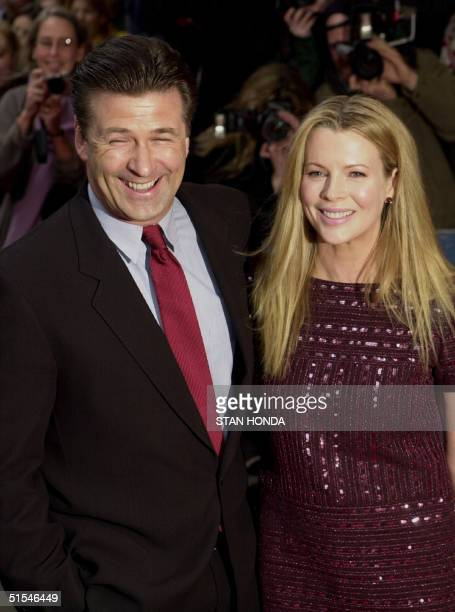 Actress Kim Basinger and husband Alec Baldwin arrive at the premiere of the movie 'I Dreamed of Africa' 18 April at the Sony Theatres Lincoln Square...